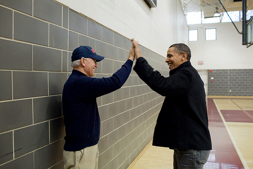 Obama and Biden high-five